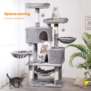 Multi-Level Cat Tree, MQ Cat Tower 57'' with Sisal-Covered Scratching Posts